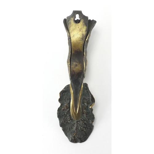 56 - Victorian brass ducks head design letter clip, 22cm in length...