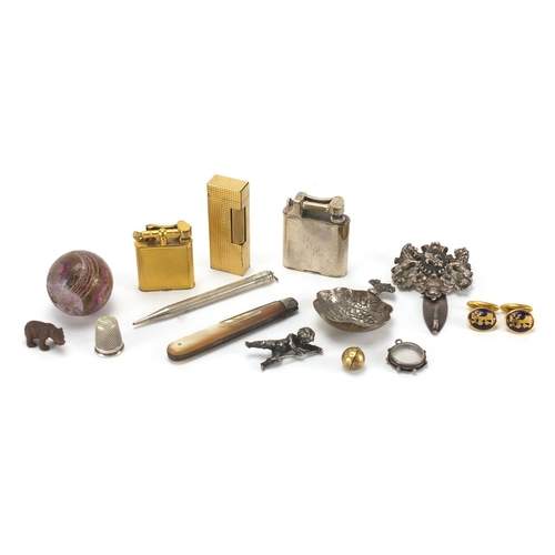39 - Antique and later objects including three Dunhill lighters, unmarked gold globular locket pendant, G...