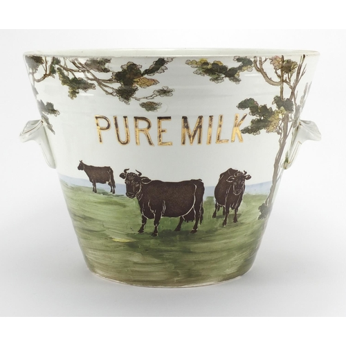 734 - Victorian Pure Milk pail by The Dairy Supply Co with twin handles, printed with cows grazing, 27cm h...