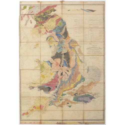 169 - 19th century geological map of England & Wales and Part of Scotland, hand coloured, by J & L Walker ...