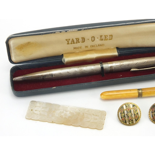28 - Antique and later objects including a silver Yard-O-Led propelling ball pen, set of six gilt metal a...