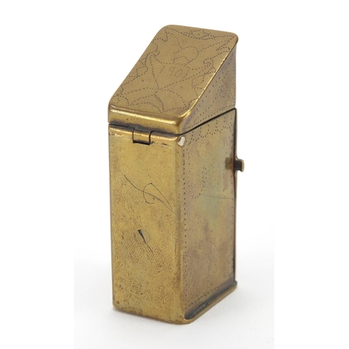 18 - 19th century brass vesta modelled as a gentleman in an outhouse, 5cm high...