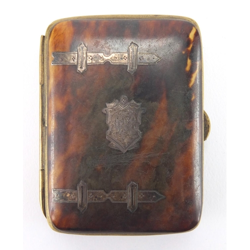 25 - Victorian rectangular tortoiseshell coin purse with silver inlay, 5cm x 6.7cm...
