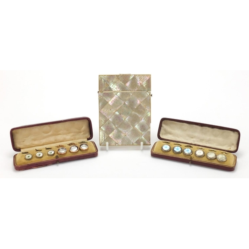 27 - Rectangular Victorian Mother of Pearl and Abalone calling card case, together with two sets of six b...