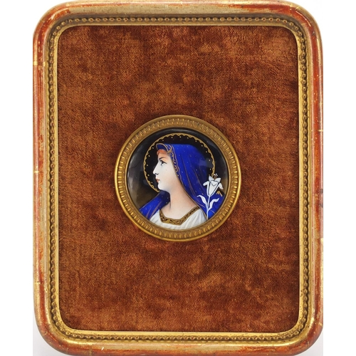 6 - Circular Religious enamelled copper plaque hand painted with Madonna, having a gilt metal mount, fra...