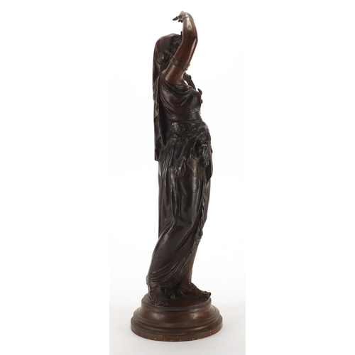 47 - Émile Bruchon, 19th century patinated bronze study of a female, titled Salammbô, 42cm high...