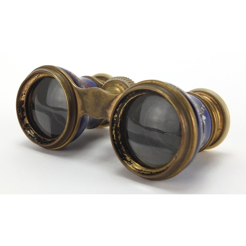 24 - 19th century French Mother of Pearl and brass opera glasses, the blue enamelled barrels hand painted...