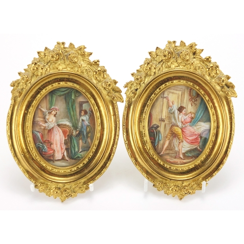 2 - Pair of oval hand painted portrait miniatures onto ivory depicting lovers in an interior, one after ...