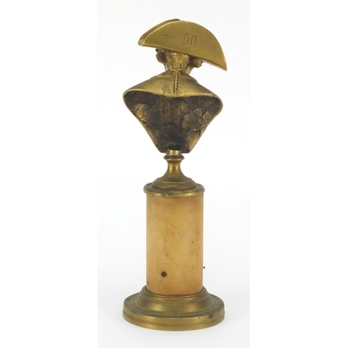 51 - Bronze bust of Frederick the Great on circular marble column bronze base, 22.5cm high...