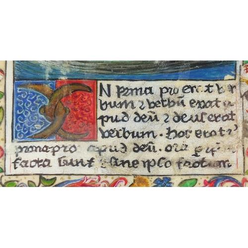 7 - Early painted vellum Manuscript illumination, depicting religious figures and script, 24.5cm x 16cm...