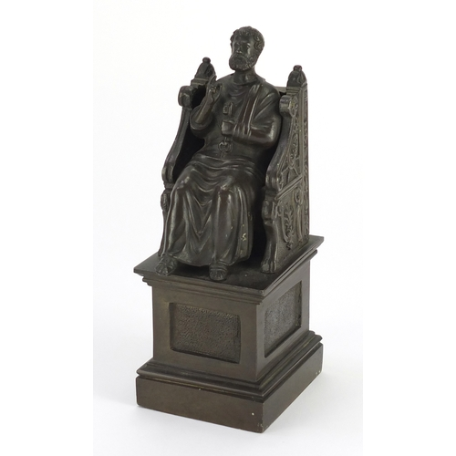 48 - Patinated bronze study of a St. Peter holding key, 17.5cm high...