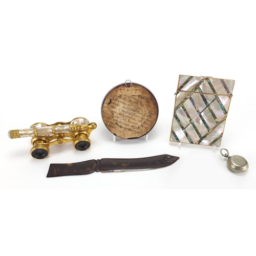 26 - Antique and later objects including a French Mother of Pearl and brass opera glasses by Iris, circul...