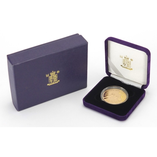 201 - Elizabeth II 2006 80th Birthday gold proof crown, with fitted case, box and certificate numbered 210...