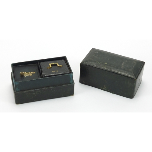 42 - Novelty Victorian tooled leather travelling inkwell, with nib and secret compartment, 6.5cm H x 9cm ...
