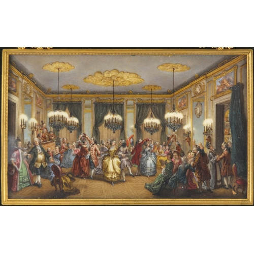 1 - Good 18th/19th ivory miniature hand painted with a Louis XV ballroom scene, housed in a rectangular ...