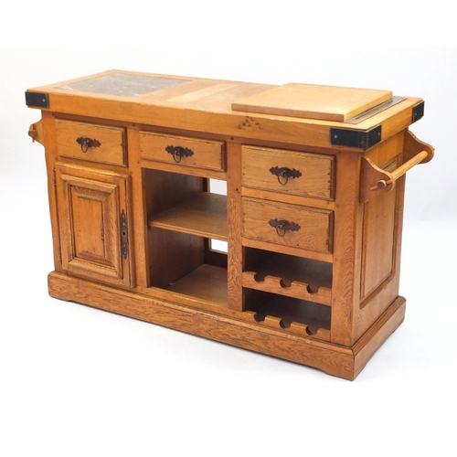 furniture village oak kitchen buffet with inset marble top and an