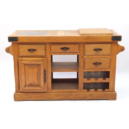 furniture village oak kitchen buffet with inset marble top and an rh easyliveauction com Oak Sideboard Narrow Oak Kitchen Buffet