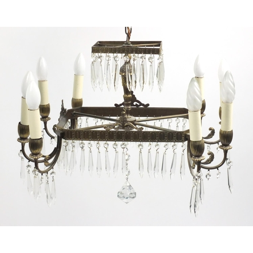 Rectangular brass eight branch two tier chandelier, with