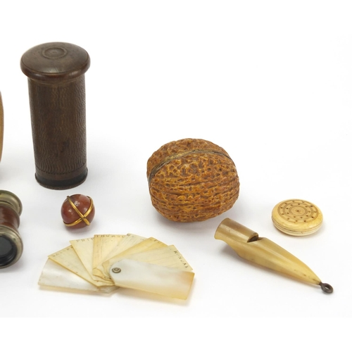 36 - Antique and later objects including a Mother of pearl and ivory aide memoire, novelty horn hand mirr...