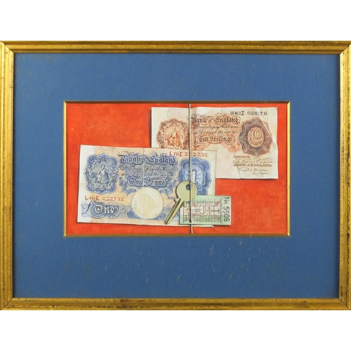 1316 - William Kurelek 1955 - Still life with treasury notes, watercolour and gouache, two Arthur Jeffress ...