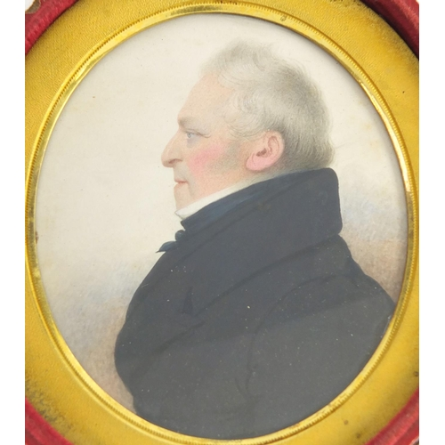 5 - 19th century oval hand painted portrait miniature of a gentleman in formal dress, with gilt aperture...