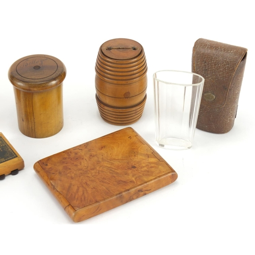 22 - Mostly antique treen including burr snuff box, whist marker and etched glass beaker housed in an oli...