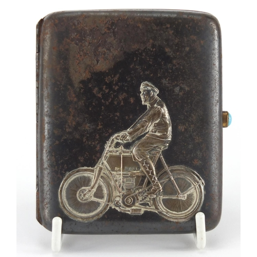 32 - Rectangular silver and gunmetal cigarette case, decorated with a gentleman on a motorcycle, London 1...