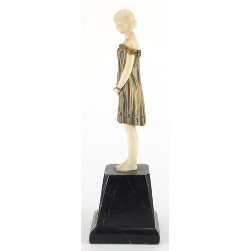 1007 - Demeter H Chiparus - Innocence, Art Deco gilt bronze and ivory figure, raised on a marble plinth, un...
