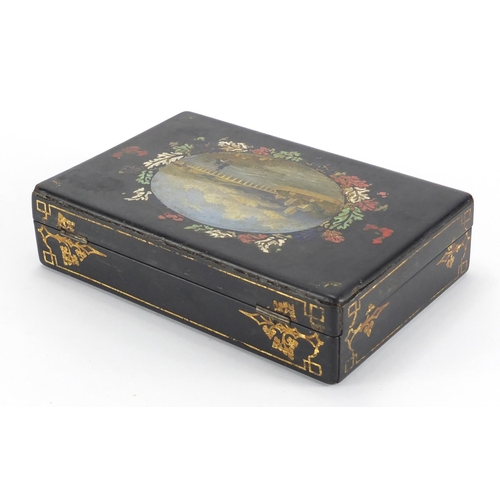 16 - Victorian Papier-mâché lacquered box by Jennens and Bettridge, the hinged lid hand painted with two ...