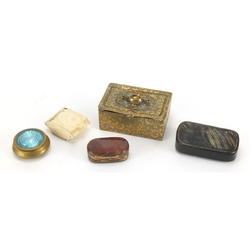 21 - Antique and later snuff boxes and trinkets including moss agate example, circular brass example with...