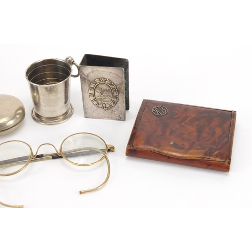 40 - Antique and later objects including a travelling beaker in the form of a pocket watch case, burr snu...