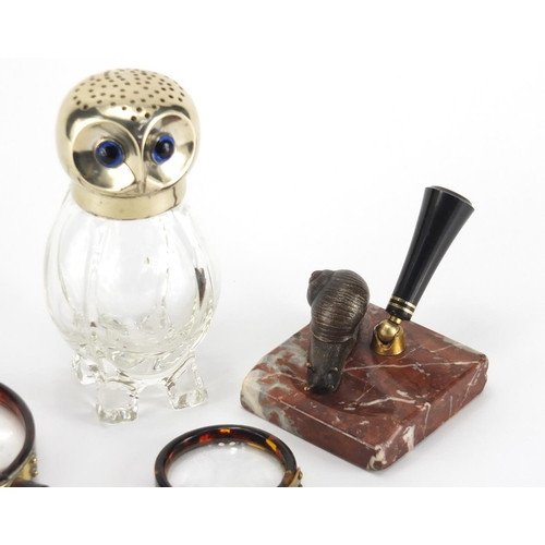 37 - Antique and later objects comprising a novelty owl design sifter with silver plated lid, marble desk...
