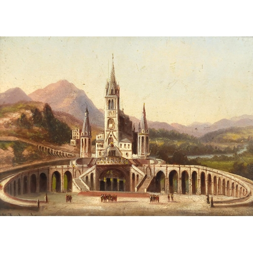 1317 - Continental castle with viaduct and figures, 19th century oil on wood panel, bearing an indistinct s...