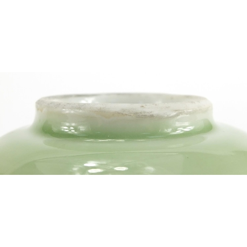628 - Pair of Chinese celadon glazed porcelain lotus bowls, each 15.5cm in diameter...