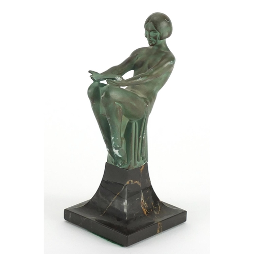 1008 - Max Le Verrier - Engime, Art Deco patinated Spelter and marble lamp, 17cm high...