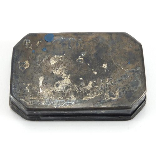 19 - Antique Continental silver snuff box, the hinged lid with engraved decoration, indistinct impressed ...