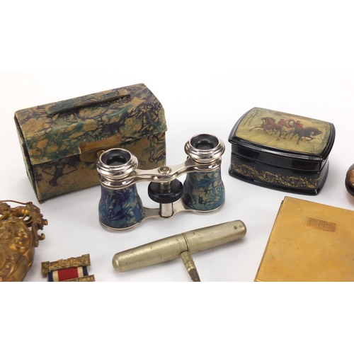 35 - Antique and later objects including a Victorian tortoiseshell coin purse, twin handled scent bottle,...