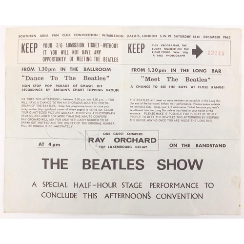 342 - Full set of The Beatles ink autographs, collected at the 1963 Wimbledon Fan Club Convention, by the ...