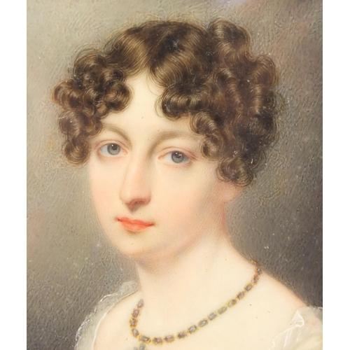1 - Rectangular Georgian hand painted portrait miniature of Sarah Herries, housed in a rectangular gilt ...