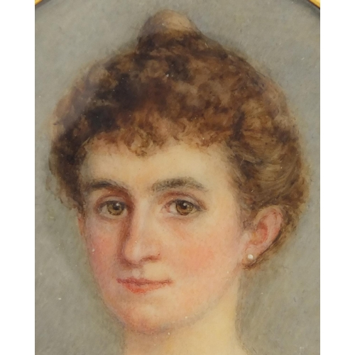 2 - Oval Georgian hand painted portrait miniature of a female, housed in a gilt metal mouring locket pen...