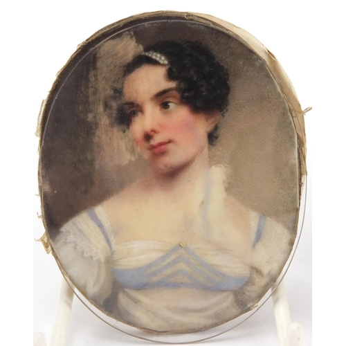 3 - Attributed to William Haines - Oval Georgian hand painted portrait miniature of J M Herries, inscrib...