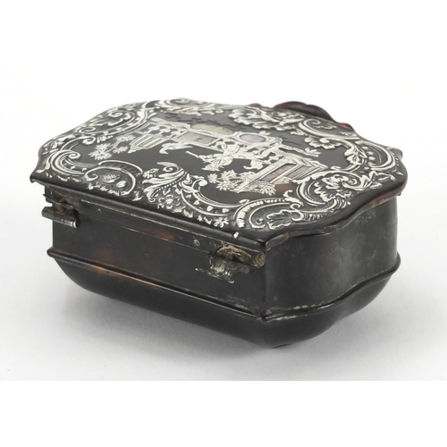 17 - Late 18th/Early 19th century tortoiseshell snuff box, the hinged lid inlaid with silver and mother o...