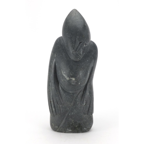 2045 - Inuit style modernist figural stone carving, signed P Fredy, 50cm high...