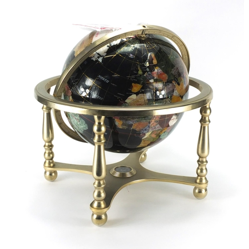 2033 - Gemstone table globe, with compass under tier, 45cm high...