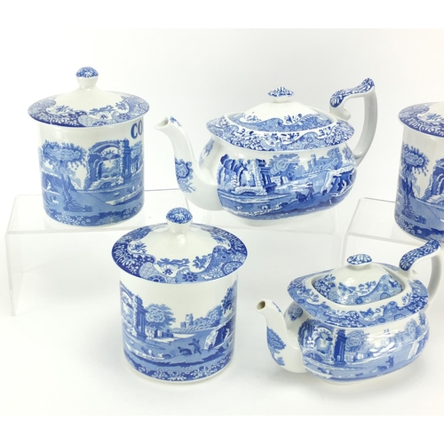2051 - Copeland Spode Italian pattern teapots and three storage jars...
