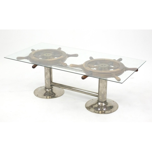2005 - Ships wheel design coffee table with glass top, 41cm H x 120cm W x 60cm D...