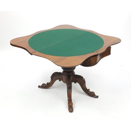 2002 - Victorian inlaid walnut folding card table, with serpentine front and floral carved knees, 70cm H x ...