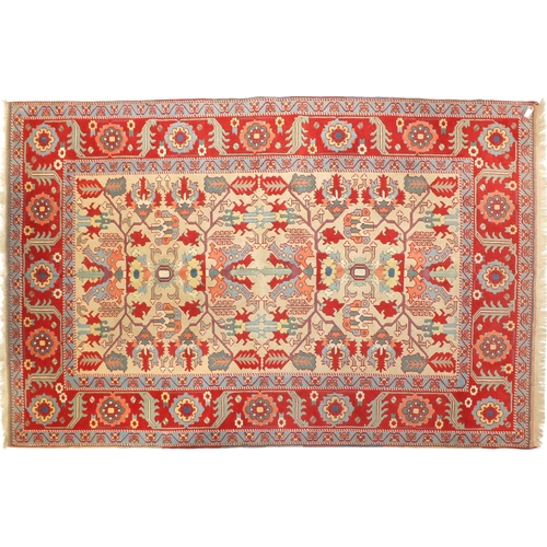 2006 - Rectangular Turkish rug having an all over floral design, 275cm x 198cm...