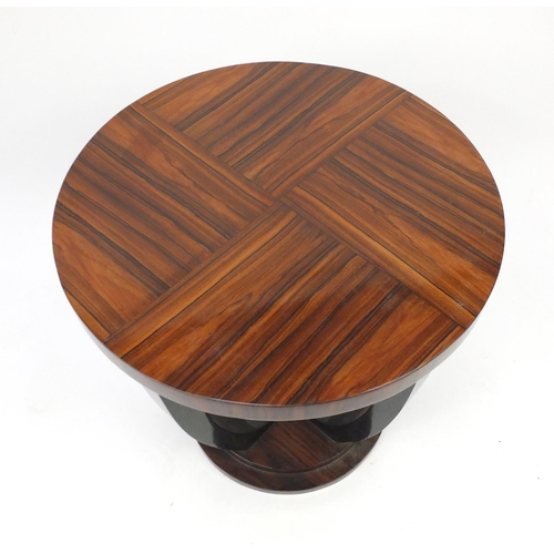 2009 - Art Deco exotic wood and ebonised circular occasional table, 60cm high x 60cm in diameter...