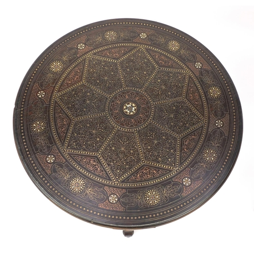 2012 - Good quality Anglo Indian circular occasional table, with copper and brass inlay decorated with foli...